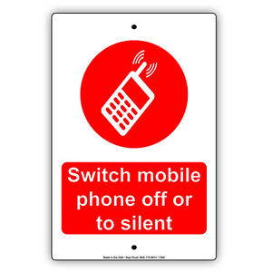 Switch Mobile Phone Off Or Silent Wall Decor Novelty Notice Aluminum Metal Sign