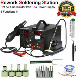 3 In 1 Smd Rework Soldering Station Hot Air Gun Esd Solder Iron Tool 110v 220v