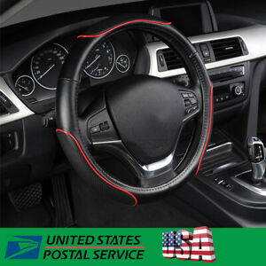 Pu Leather With Red Line Steering Wheel Cover 38cm Universal Set Black Us Stock