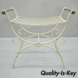 Vintage French Hollywood Regency Style Wrought Iron Brass Curule Vanity Bench