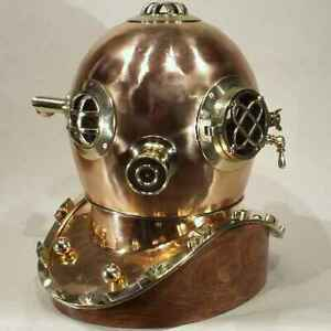 Diver S Helmet Brass Copper On Wood Stand 18 New