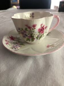 Shelley Teacup And Saucer Flowers Stocks 13428 Vintage Set Fine Bone China