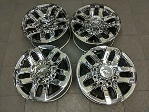 5709 Chevy 2500 3500 18 Factory Oem Chrome Wheels Set 2015 2017 22910742