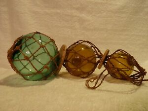 Vintage 3 Hand Blown Glass Fishing Floats Original Netting