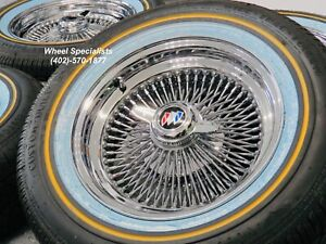 16 Inch 100 Spoke Buick Spokes Wires Whitewall Vogue Tire Package Set 4 New