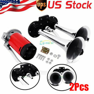Universal 12v Air Compressor Dual Trumpet Kit For Air Horn Car Truck Boat
