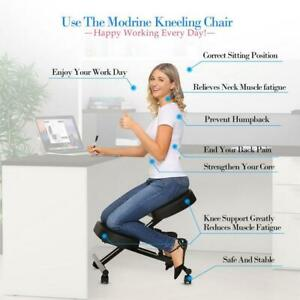 Ergonomic Kneeling Chair Rolling Padded Seat Adjustable Height Knee Rest Black