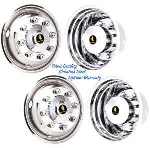 22 5 8 Lug 4 Hole Stainless Steel Wheel Simulator Rim Liner Hubcap Covers Set