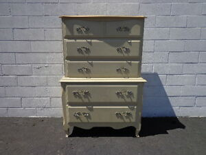 Dresser French Provincial Chest Of Drawers Painted Storage Shabby Chic Tallboy