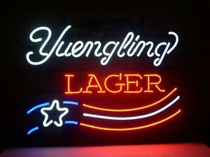 New Yuengling Lager Us Flag Neon Light Sign 17 x14 Real Glass Lamp Beer Bar