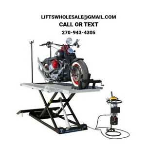 Titan 1500 Lbs Xlt Electric Hydraulic Motorcycle Lift Front Side Extensions