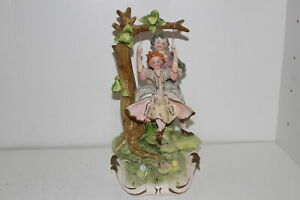 Vintage Capodimonte Style Porcelain 11 Figurine Boy Pushing Girl On Swing