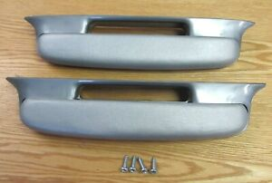 1957 Chevy Belair Arm Rests Silver With Mounting Hardware New Pair
