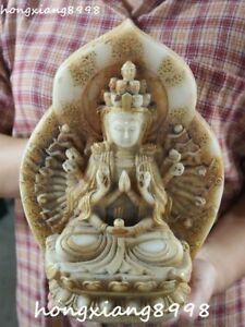 Marked China Old Jade Gilt 1000 Arms Avalokiteshvara Of Goddess Kwan Yin Statue