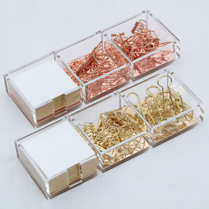 Acrylic Clear Gold rose Gold Paper Clips Holder With Cube Memo Pad 320 Sheets