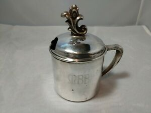 Vintage Community Silver Plate Monogrammed Baby Cup With Lid