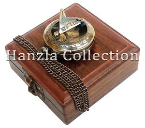 Nautical Brass Sundial Style Push Button Antique Pocket Watch With Wooden Box