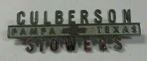 Old Vintage Culberson Stowers Chevrolet Car Dealership Emblem Pampa Texas Metal