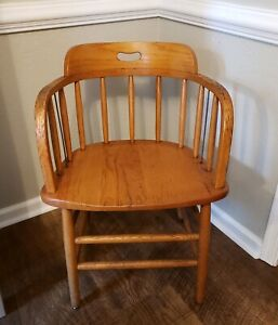 Vintage Solid Oak Culler Barrell Back Chair Desk Office Free Shipping