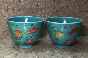 Pair Of Antique Chinese Turquoise Glazed Famille Rose Porcelain Cups