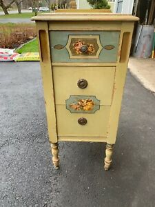 Vtg Lauter Painted Stenciled Cabinet Cupboard Nightstand Greyhound Ship 99 0