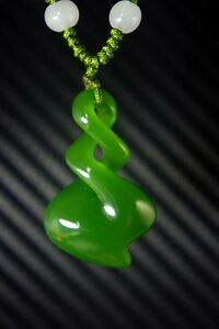 Chinese Natural Bright Green Jade Nephrite Hand Carved Spiral Jade Pendant