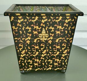 Wood Waste Paper Basket Tortoiseshell Marbled Paper Antique Empire Style