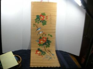 Vintage Japanese Birds Flowers Hanging Roll Up Scroll Signed 14 X34