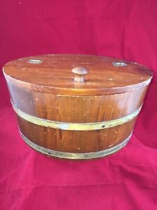 Vintage Large Round Wooden Sewing Box W Hinged Lid Metal Bands