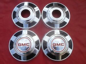 Vintage 1973 77 Gmc 4x4 Truck Dog Dish Poverty Hubcaps Wheel Covers