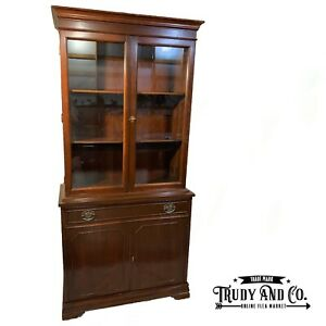 Mahogany Wood Glass Display Curio China Cabinet Etagere Hutch Duncan Phyfe Style