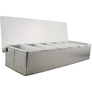 Bar Garnish Tray Stainless Steel 6 Compartments Bartending Condiment Caddy