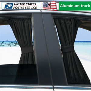 2pcs 50l Black Car Window Shades Side Curtains Drape Visor Valance Universal