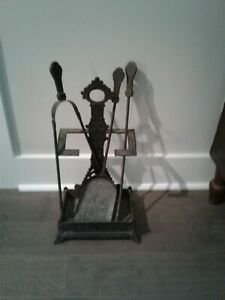 Early Victorian Iron Fireplace Tool Set