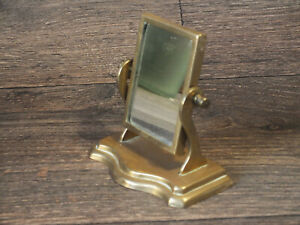 Vintage Miniature Brass Mirror Dressing Table Style 10 5cm Tall 10 5cm Wide