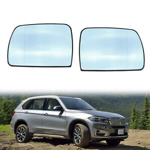 Pair Mirror Glass Heated Blue For Bmw X5 E53 2000 2001 2002 2003 2004 2005 2006