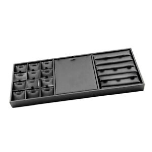 Leather Compartment Jewelry Display Stand Organizer Tray For Necklace Rings