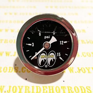 Direct Fit Engine Fuel Pressure Gauge 1 15 Psi Mooneyes Liquid Filled