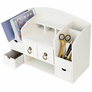Mygift Vintage White Wood Desktop Organizer With Letter Sorter 5 Drawers