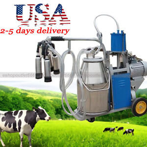 25l Fda Electric Milking Unit Milker For Farm Cows Bucket Cattle Dairy usa