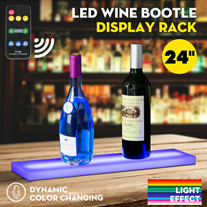 24 Music activated Led Lighted Bar Liquor Display Shelf Wine Bottle Stand Rack