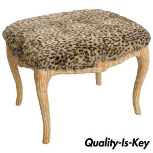 Vintage Hollywood Regency Faux Bois Wood Stool Bench Ottoman Fuzzy Leopard Seat