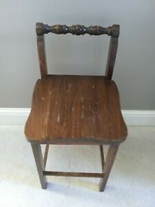 Vintage Country Cottage Wood Maple Vanity Stool Chair Childs Seat