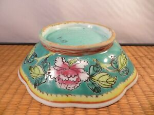 Antique Chinese Famille Rose Porcelain Eight Lobed Bowl Flowers China 7 B
