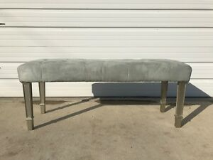 Bench Bed Vintage Vanity Wood Seating Tufted Hollywood Glam Regency French Stool