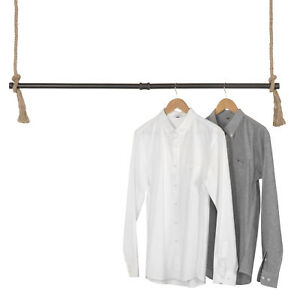 Mygift Industrial Pipe And Rope Ceiling Hanging Clothing Rack