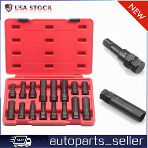 16 Pc Locking Lug Nut Master Key Set Wheel Tire Lug Removal Socket Tool Kit As