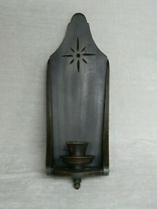 Primitive Vintage Look Black Wooden Candleholder Wall Sconce Country Decor