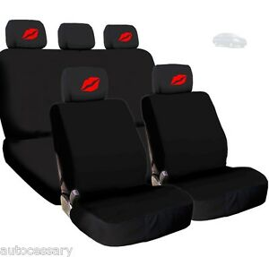 For Nissan New 4x Red Lips Logo Headrest And Black Fabric Seat Covers