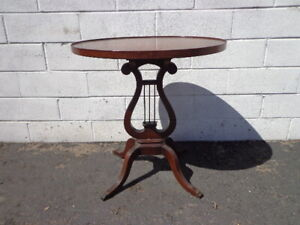Table Accent Side End Victorian Lyre Harp Carved Wood Nightstand Bedside Entry